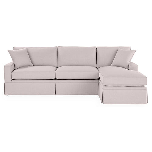 Liza RF Skirted Sectional, Quartz Linen