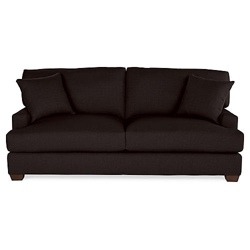 Logan Sofa, Black Linen