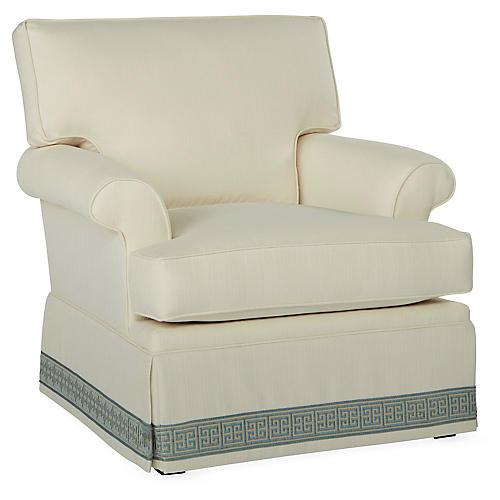 Montrose Swivel Club Chair, Ivory Crypton