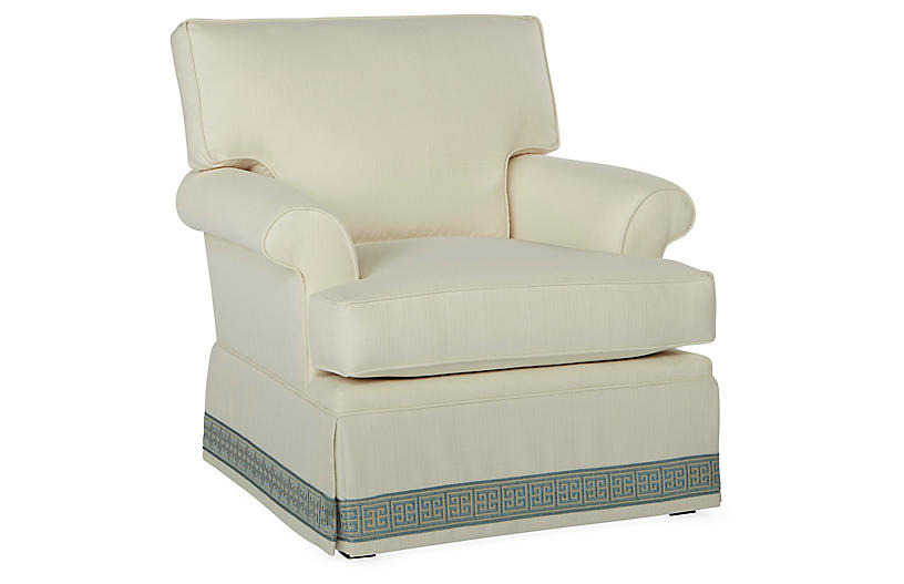 Montrose Swivel Chair, Ivory Crypton