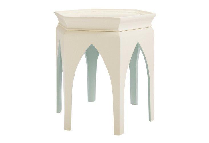 Marrakech Side Table, Ivory/Seafoam