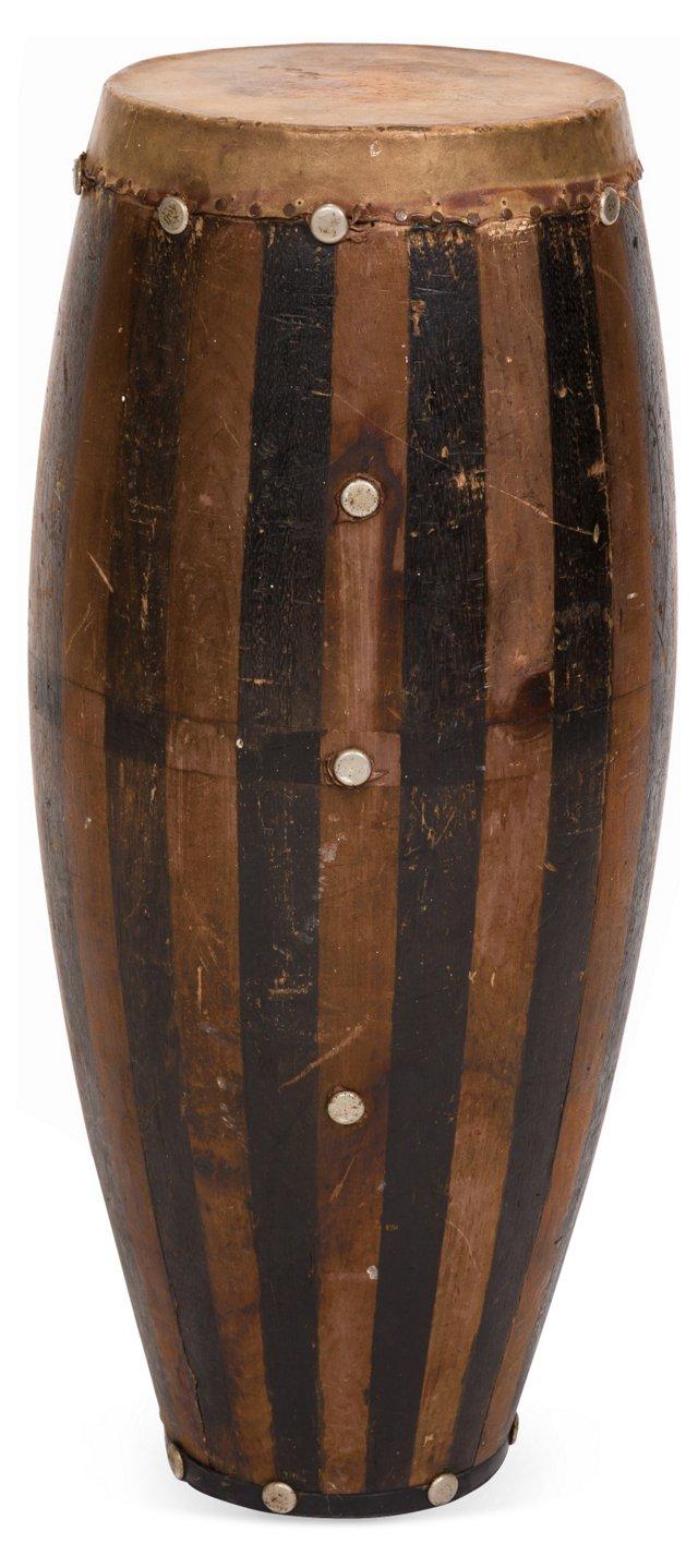 Painted Wood & Hide Drum