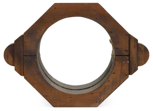 Vintage Industrial Wood Mirror