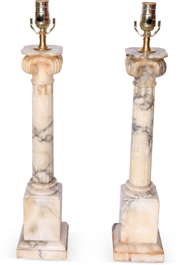 Marble Column Lamps, Pair