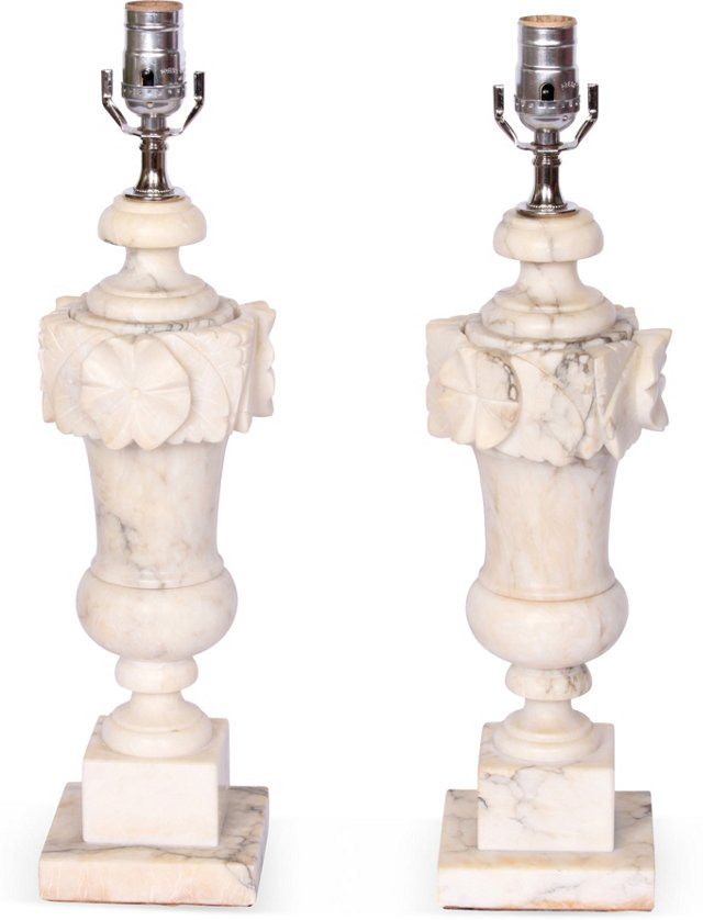 White Marble Lamps, Pair