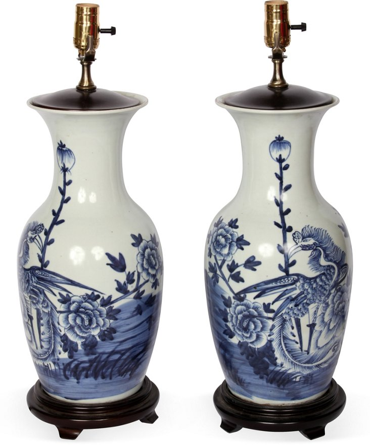 Chinese Flowered Lamps, Pair