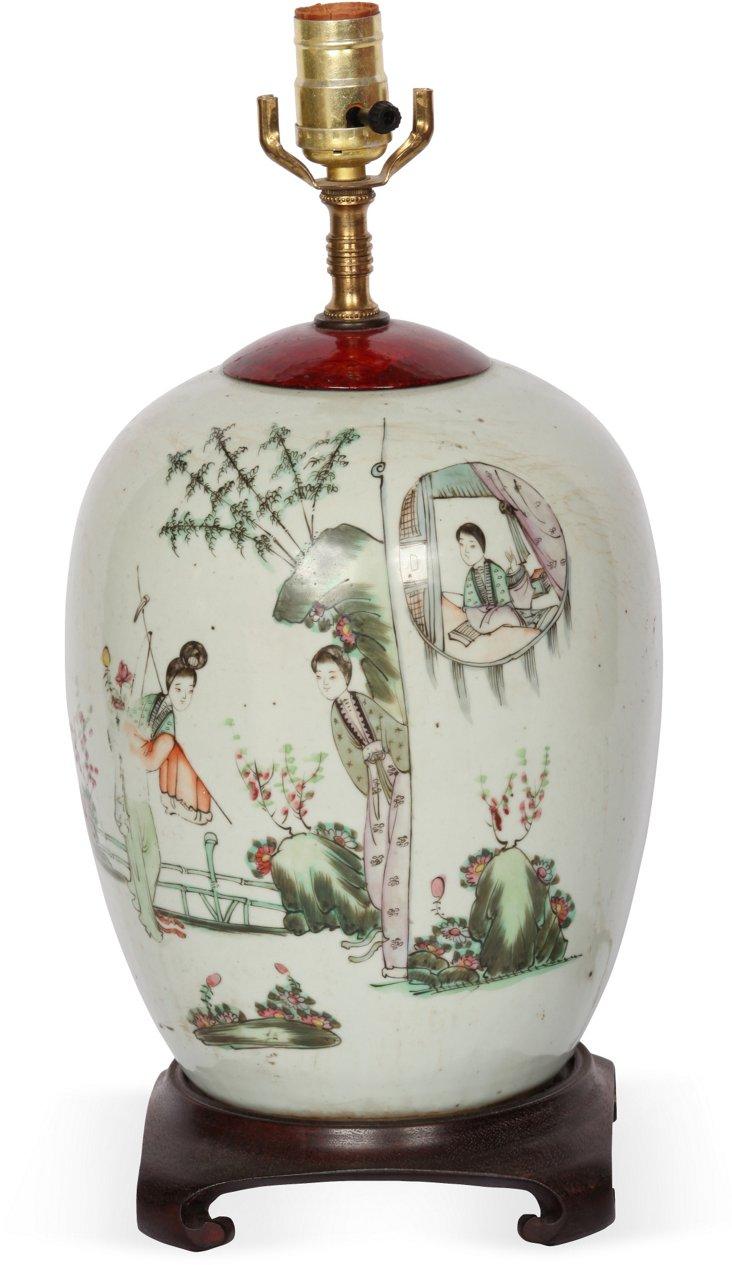 19th-C. Chinese Jar Lamp