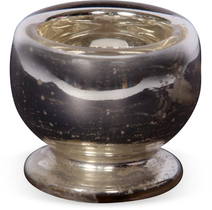 19th-C. Mercury Glass Salt Cellar, Small