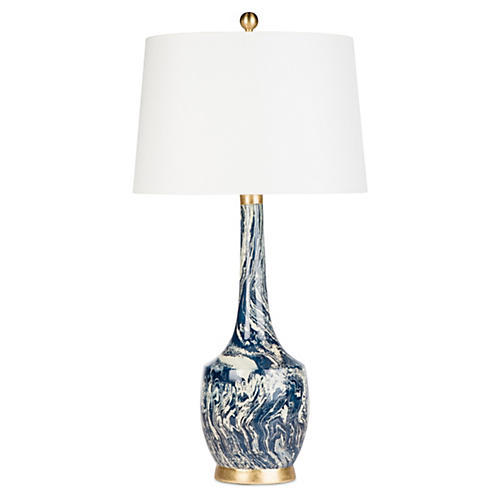 Harlow Table Lamp, Blue & White Marble