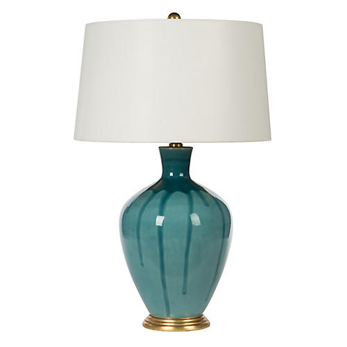 Gisele Drip Table Lamp, Teal