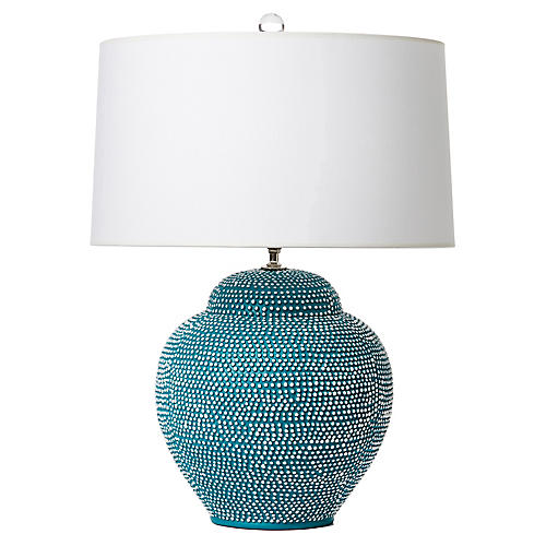 Kismet Table Lamp, Teal/White