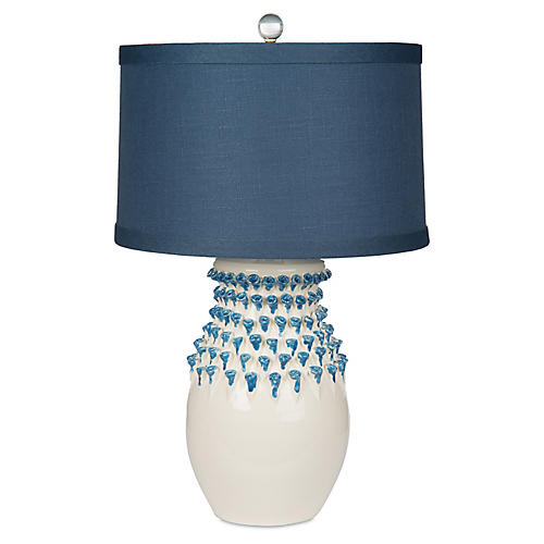Urchin Jar Table Lamp, White/Navy
