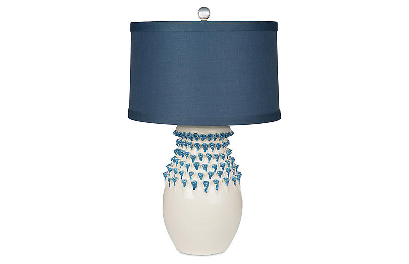 Urchin Jar Table Lamp - White base with blue glass accents and navy linen shade.