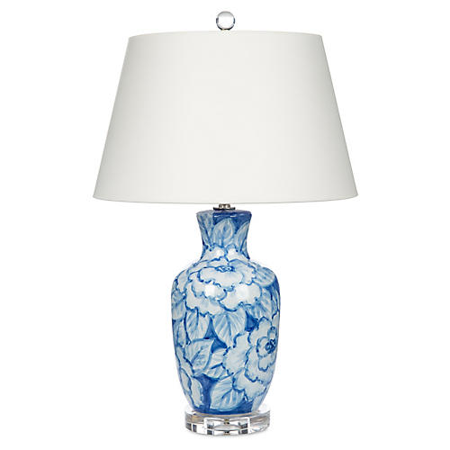 Floral Watercolor Table Lamp, Blue/White