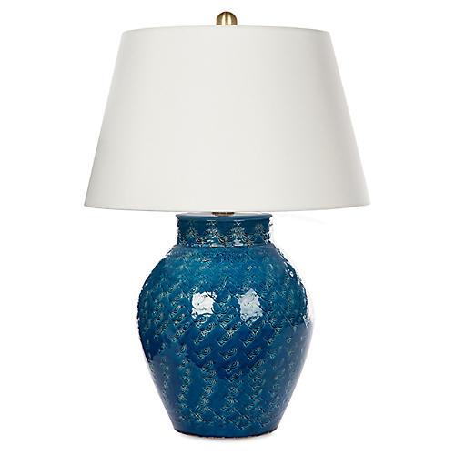 Rustic Jar Table Lamp, Blue