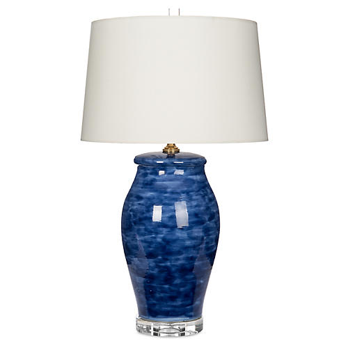 Watercolor Jar Table Lamp, Blue/Off-White