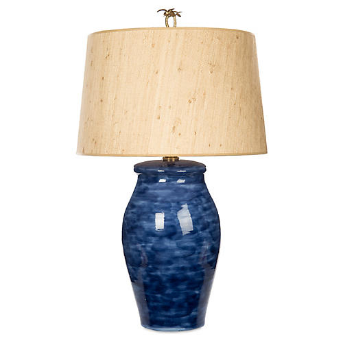 Watercolor Jar Table Lamp, Blue/Tan