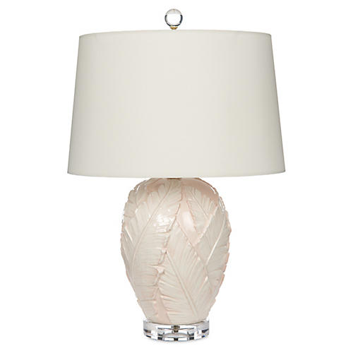 Palm Leaves Table Lamp, Light Pink