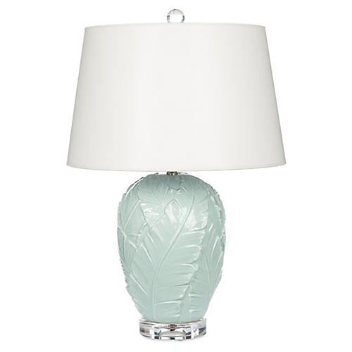 Palm Leaves Table Lamp, Light Blue