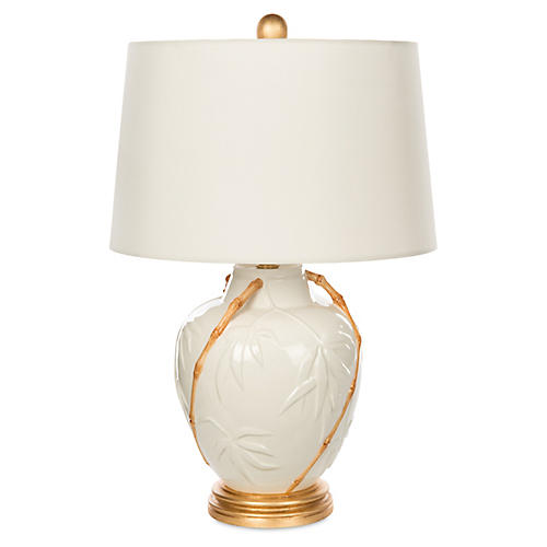 Embossed Bamboo Table Lamp, White/Gold
