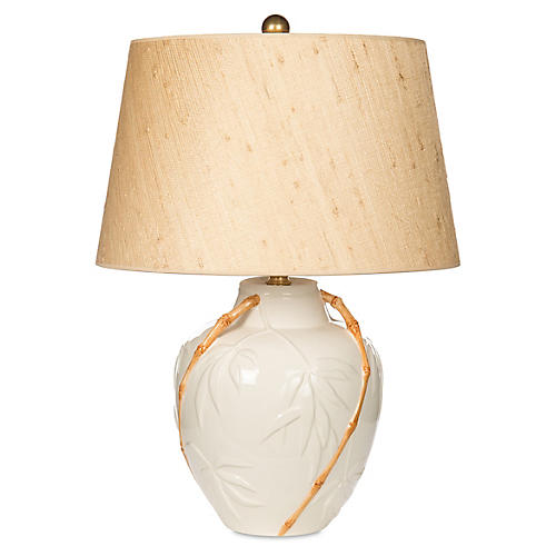 Embossed Bamboo Table Lamp, White/Tan