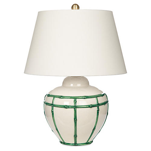 Bamboo Table Lamp, Green/White