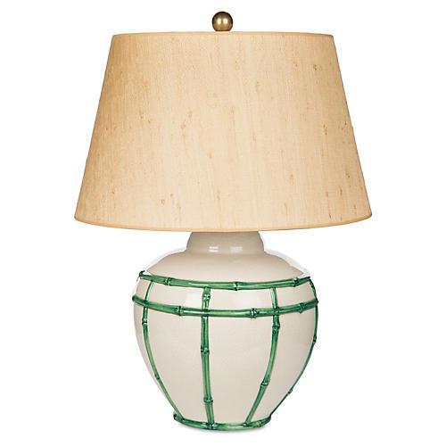 Bamboo Table Lamp, Green/Tan