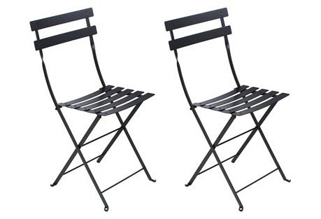 Black Bistro Chairs, Pair