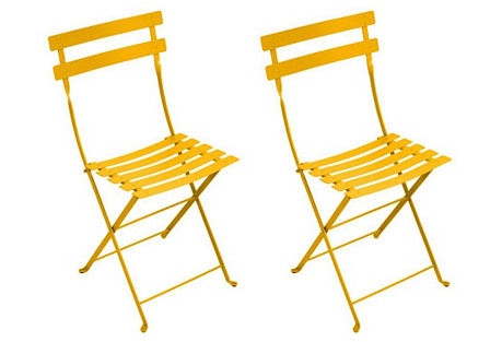 Honey Bistro Metal Chairs, Pair