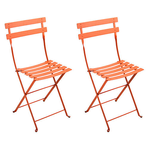 Paprika Bistro Metal Chairs, Pair