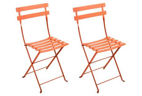 Paprika Bistro Metal Chairs, Pair