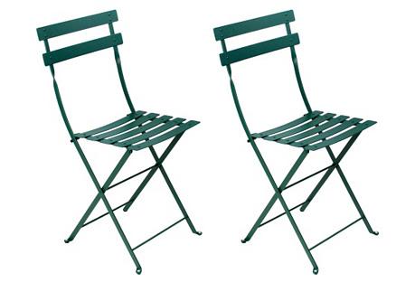 Cedar Bistro Metal Chairs, Pair