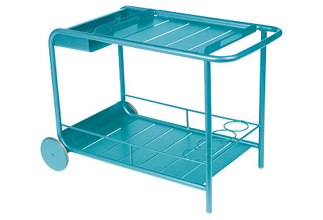 Luxembourg Outdoor Bar Cart, Turquoise