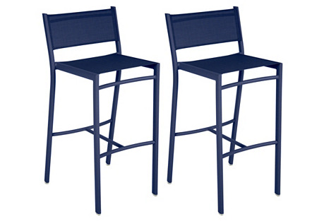 Cobalt Costa High Chairs, Pair