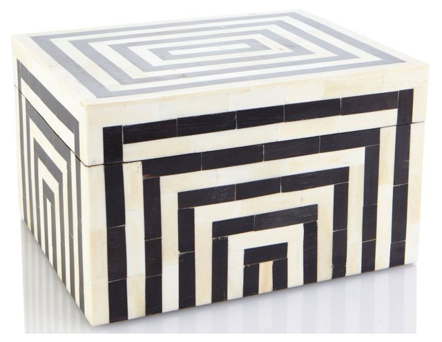"10"" Striped Bone & Horn Box"