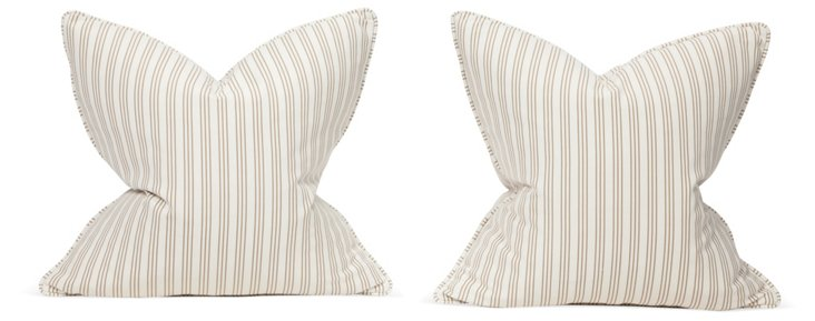 Beige Striped Pillows, Pair
