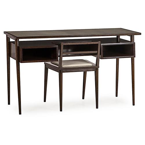 Herringbone Desk & Chair, Rustic Black