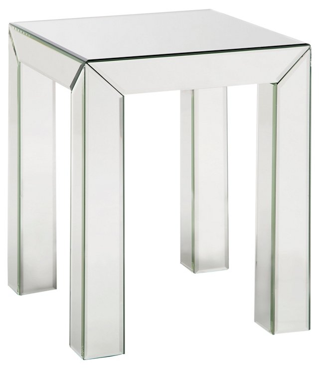 Lordes Mirrored Side Table, Silver