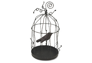 "S/2 6"" Crow Cage Ornaments, Black"