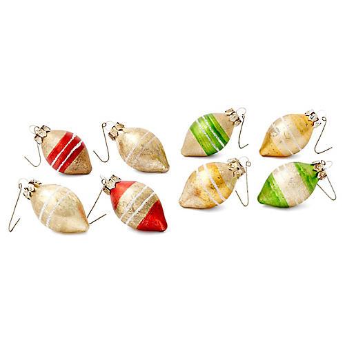Asst. of 8 Teardrop Striped Ornaments