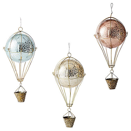 Asst. of 3 Romelle Ornaments, Gold/Multi