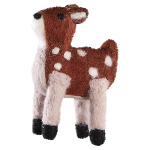"4"" Fawn Ornament, Brown/White"