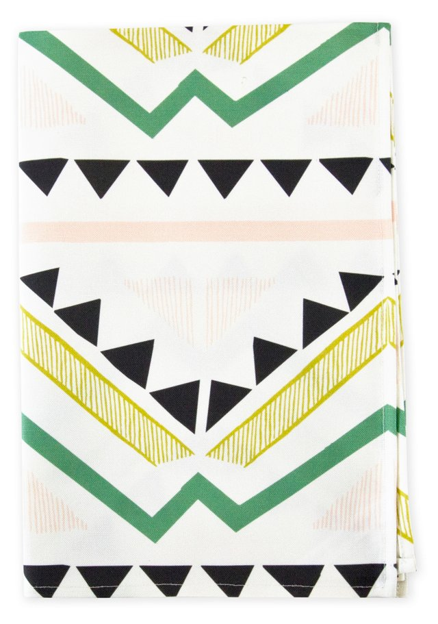 Linen Blend Tea Towel, Geometric