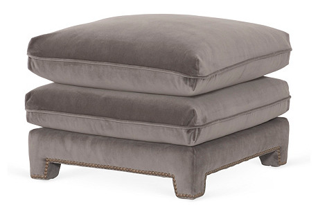Empire Plush Ottoman, Gray Velvet