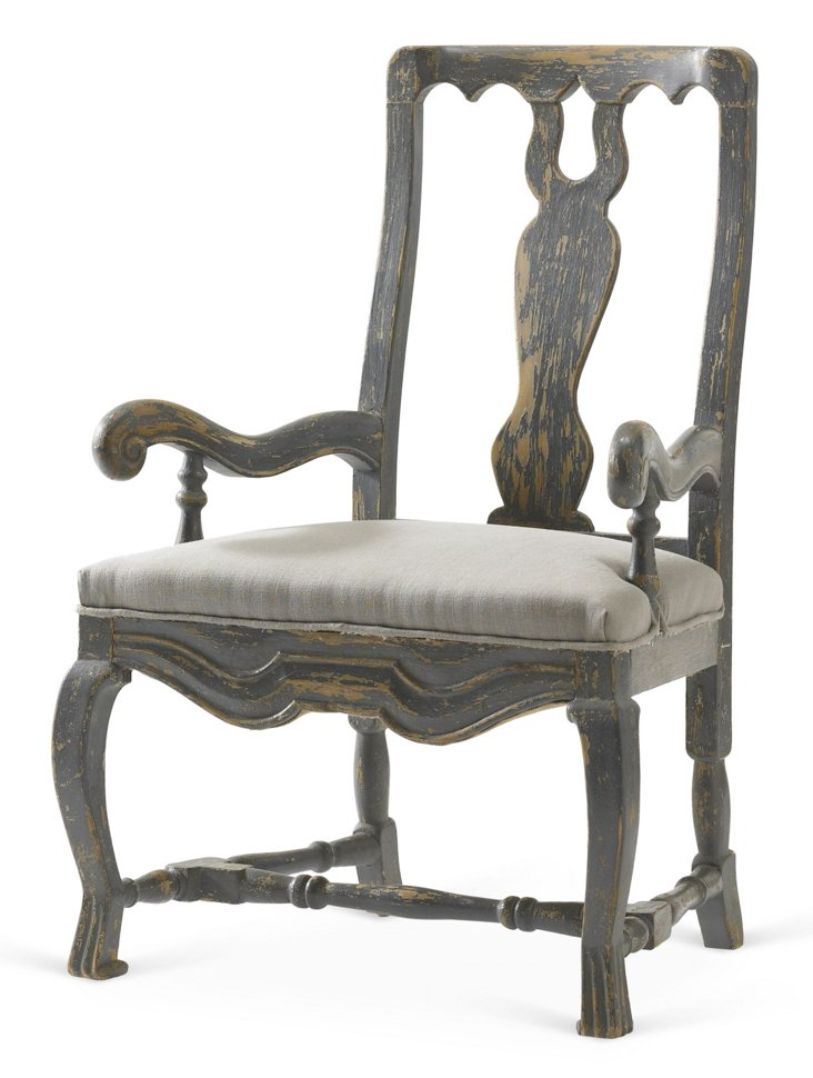 Swag Linen Armchair, Gray