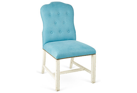 Jack Buttoned Side Chair, Blue Linen