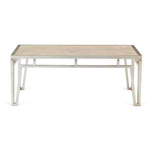 "Modern 40"" Marble Coffee Table, Silver"