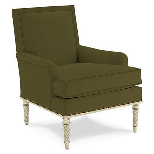 Azure Accent Chair, Olive Velvet