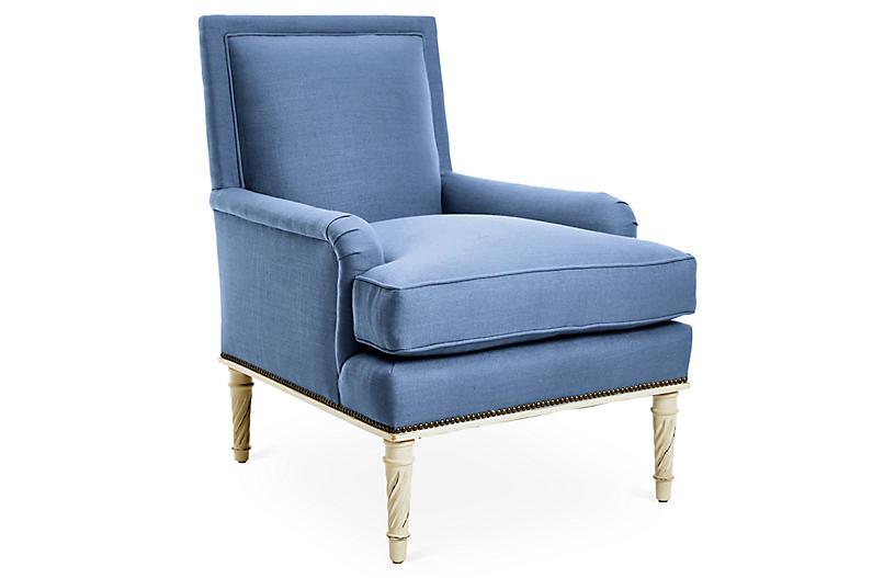 Azure Accent Chair, Cornflower Blue Linen