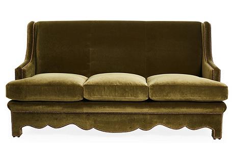 Nailhead Sofa, Olive Velvet